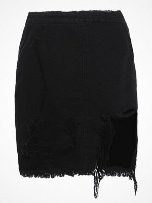 Missguided BUSTED RIPPED DISTRESSED Jeanskjol black