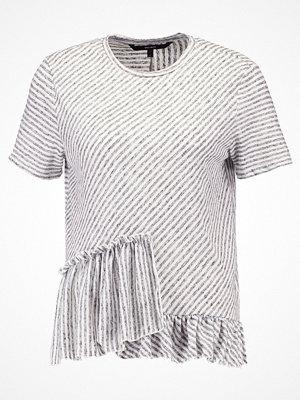 Vero Moda VMSTRIPEY FRILL Tshirt med tryck snow white/medium grey melange