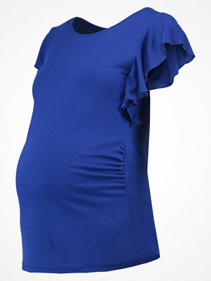 DP Maternity RUFFLE SLEEVE SCOOP NECK  Tshirt med tryck cobalt