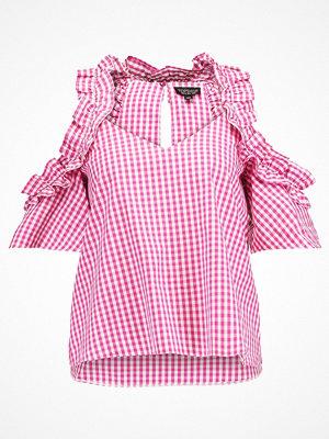 Topshop RUFFLE GINGHAM COLD SHOULDER Blus pink