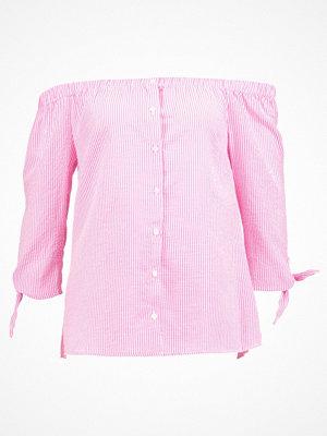 Dorothy Perkins STRIPE BUTTON TIE CUFF BARDOT Blus pink