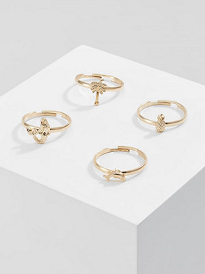 Topshop 4 PACK Ringar goldcoloured