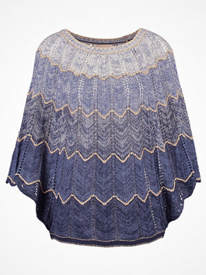 Cream CELIA Poncho royal navy blue