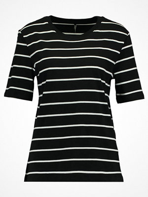Only ONLGREAT STRIPE Tshirt med tryck black/cloud dancer