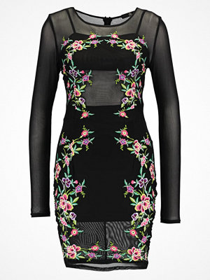 Missguided LONG SLEEVE EMBROIDERED BODYCON Fodralklänning black