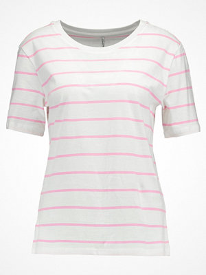 Only ONLGREAT STRIPE Tshirt med tryck cloud dancer/prism pink