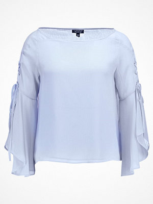Topshop EYELET LACE UP FLUTE Blus lightblue