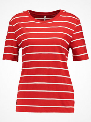 Only ONLGREAT STRIPE Tshirt med tryck flame scarlet/cloud dancer