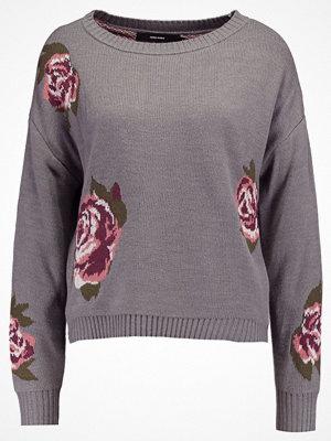 Tröjor - Vero Moda VMBELMONT FLOWER Stickad tröja medium grey melange/flowers