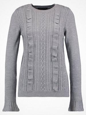 Dorothy Perkins RUFFLE FRONT CABLE Stickad tröja grey