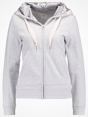 Only ONLANNE ZIP HOOD Sweatshirt light grey melange/cream tan
