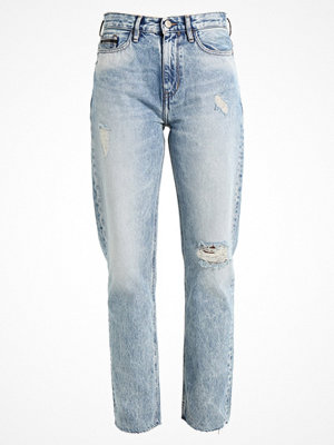 Calvin Klein Jeans HIGH RISE STRAIGHT ANKLE RAW Jeans straight leg tron blue des