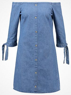 Dorothy Perkins BUTTON THROUGH BARDOT Jeansklänning blue