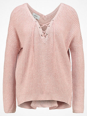 Only ONLPEYTON LACE UP Stickad tröja rose dawn/w. white melange