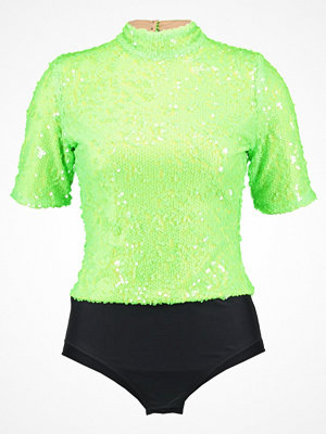 Jaded London HIGH NECK SLEEVE NEON SEQUIN Tshirt med tryck green/black