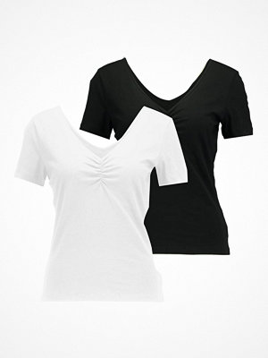Vero Moda VMMARIELLA SHIRRED NECK 2 PACK Tshirt bas black/white