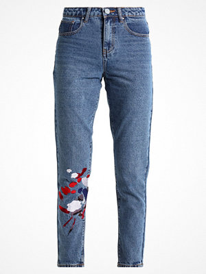 Lost Ink MOM WITH PAINTSTROKE EMBROIDERY Jeans relaxed fit mid denim