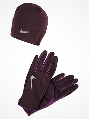 Mössor - Nike Performance WOMENS RUN DRY HAT AND GLOVE SET Fingervantar port wine/night purple/silver