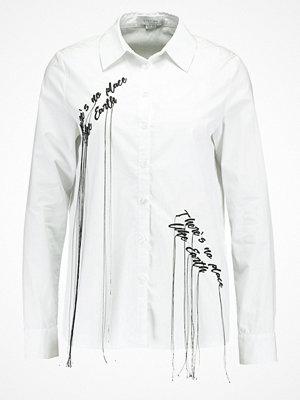 Lost Ink B&&B EMBROIDERED SLOGAN Skjorta white