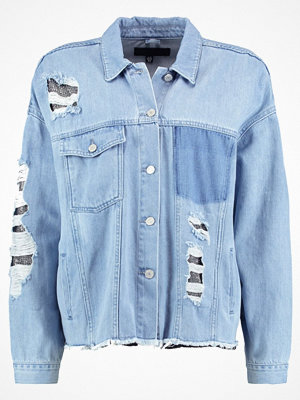 Missguided LONDUNN OVERSIZED CHAINMAIL EMBELLISHED Jeansjacka blue