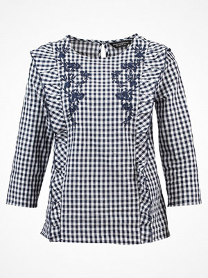 Dorothy Perkins GINGHAM FRILL EMBROIDERED Blus navy blue