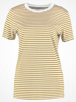 Selected Femme SFMY PERFECT BOX CUT STRIPE Tshirt med tryck golden brown/bright white