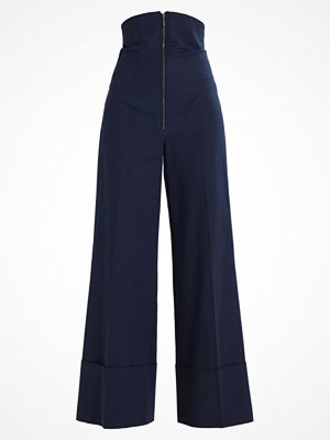 Topshop B&B SUPER HIGH WAIST Tygbyxor navy marinblå