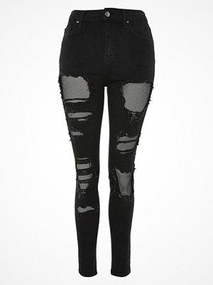 Topshop FISHNET JAMIE Jeans Skinny Fit black