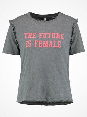Only ONLGIRLS RUFFLE PRINT Tshirt med tryck dark grey melange