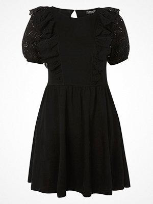 Topshop BRODERIE SKATER  Jerseyklänning black