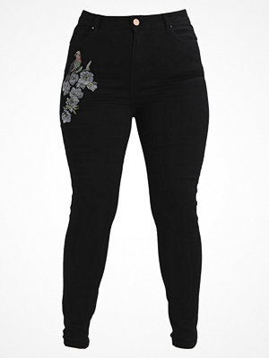 Jeans - Lost Ink Plus HIGH WAIST WITH BIRD EMBROIDERY Jeans Skinny Fit black