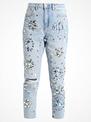 Topshop FLORAL GEM MOM Jeans relaxed fit bleach