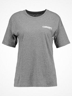 Carhartt WIP COLLEGE SCRIPT  Tshirt med tryck dark grey heather / white