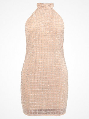 Missguided PEACE LOVE HALTERNECK SMALL GRID EMBELLISHED BODYCON Cocktailklänning silver/nude