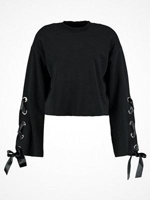 Even&Odd LACE UP EYELET Sweatshirt black