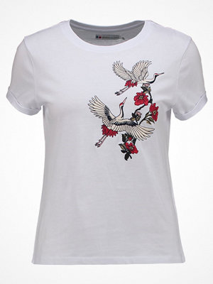 Even&Odd EMBROIDERED BIRD Tshirt med tryck white