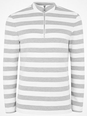 Topman STRIPE ZIP Sweatshirt grey