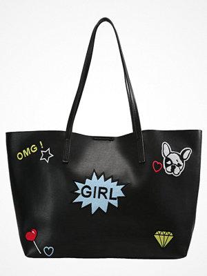 Even&Odd svart shopper med tryck Shoppingväska black