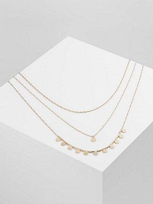 Topshop LONG 3 ROW DISC Halsband goldcoloured