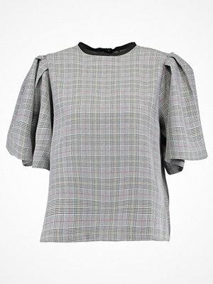 T-shirts - Topshop CHECK FLUTE SLEEVE Blus grey
