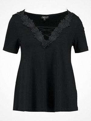 Topshop FLORAL APLIQE SWING  Tshirt bas black