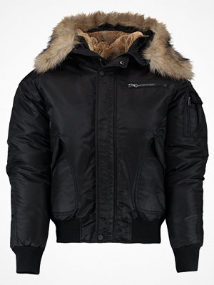 Urban Classics HOODED HEAVY FAKE FUR  Bomberjacka schwarz