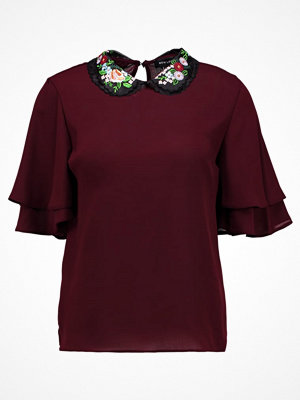 New Look EMBROIDERED COLLAR DOUBLE SLEEVE Blus dark burgundy