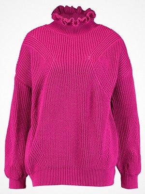 Topshop FRILL JUMPER Stickad tröja bright pink