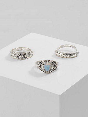 Topshop ENGRAVE 3 Pack Ringar white/silvercoloured