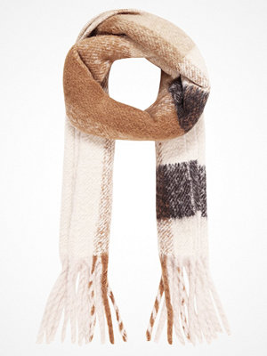 Halsdukar & scarves - Only ONLAZUR HEAVY FRINGE SCARF Halsduk black/camel/pumice stone/sand