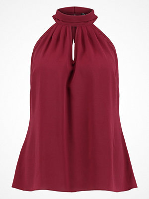 City Chic TOP SIMPLE BOW TIE Blus ox blood wine red