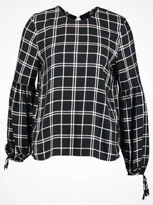 Only ONLNORA L/S CHECK TOP WVN Blus black/w. white