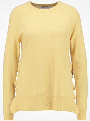 NA-KD NAKD SLIT FRILL Stickad tröja light yellow