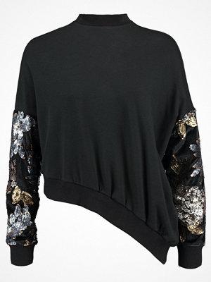 Lost Ink SEQUIN SLEEVE ASYMMETRIC Sweatshirt black